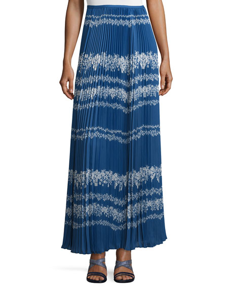 Self PortraitPleated Flower Spell Maxi Skirt, Cobalt Blue/Cream