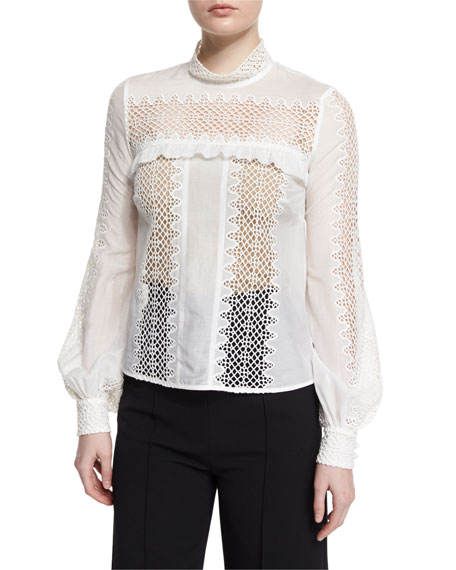 Self Portrait Long-Sleeve Lace-Trim Voile Blouse, White