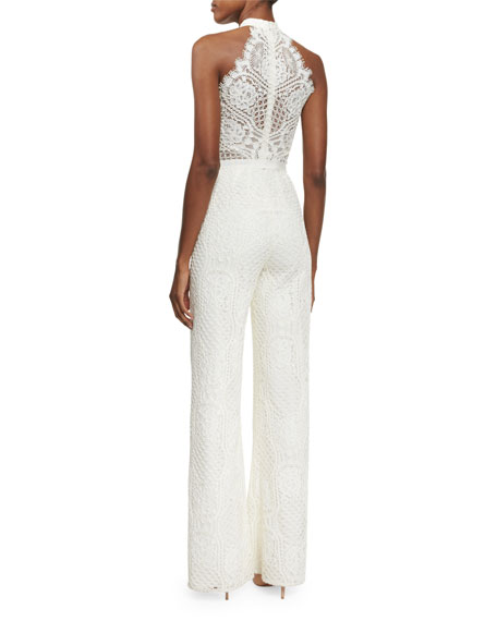 alexis maylina sleeveless grecian lace jumpsuit ivory neiman marcus. Black Bedroom Furniture Sets. Home Design Ideas