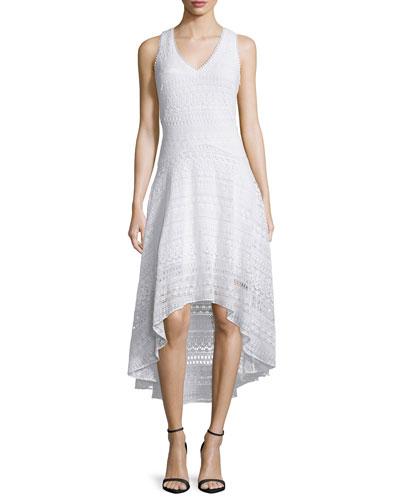 Cotton Lace High-Low Dress, White
