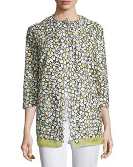 3/4-Sleeve Daisy-Print Jacket, Mimosa