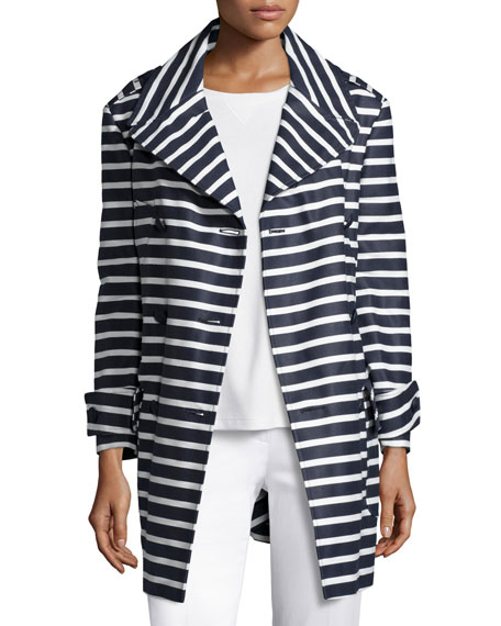 RED Valentino Striped Cotton Trenchcoat, Blue
