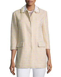 Embellished-Collar Check Jacket, Ginestra