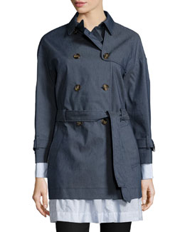 Double-Breasted Layered-Hem Trench Coat, Blue