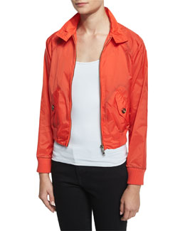 Zip-Front Shrunken Jacket, Papaya