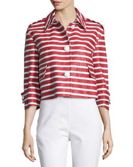 Button-Front Striped Cropped Jacket, Ciliegia