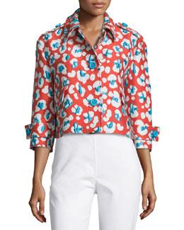 Floral-Print Cropped Jacket, Papaya
