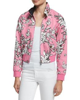 Floral-Print Zip-Front Bomber Jacket, Peonia