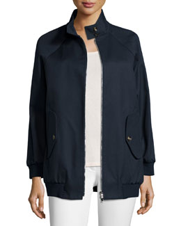 Stand-Collar Zip-Front Jacket, Blue