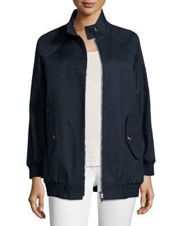 Stand-Collar Zip-Front Jacket, Blue