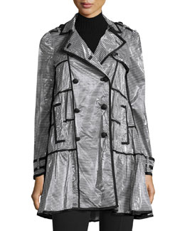 Coated Striped Rain Coat