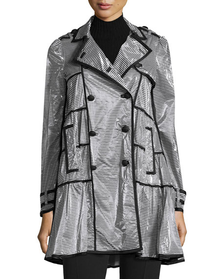 RED Valentino Coated Striped Rain Coat