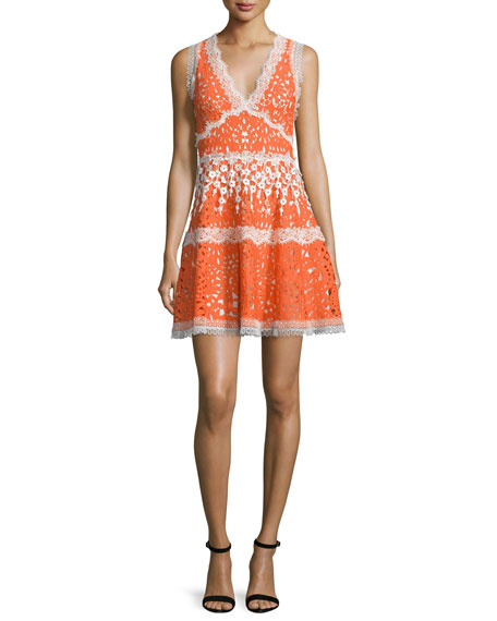 Alexis Bridget Paneled Lace A-Line Dress, Tangerine