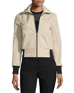 Zip-Front Bomber Jacket w/Contrast Cuffs, Duna