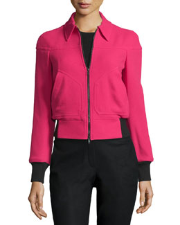 Zip-Front Bomber Jacket w/Contrast Cuffs, Currant