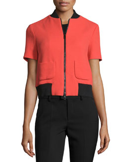 Short-Sleeve Zip-Front Jacket, Aranci