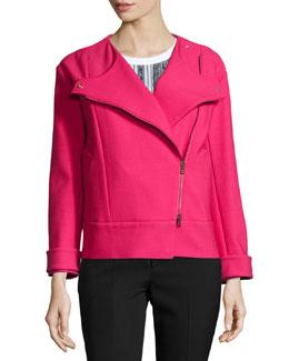 Asymmetric Zip-Front Jacket, Ribes