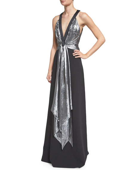 Michael Kors Collection Sleeveless Draped-Front Gown, Black