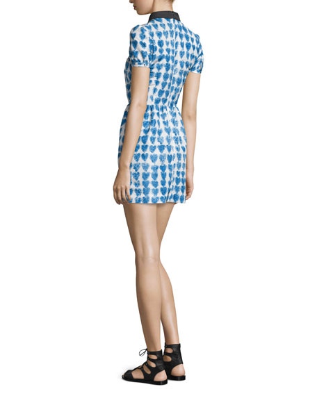 Peter Pan Collar Heart-Print Dress