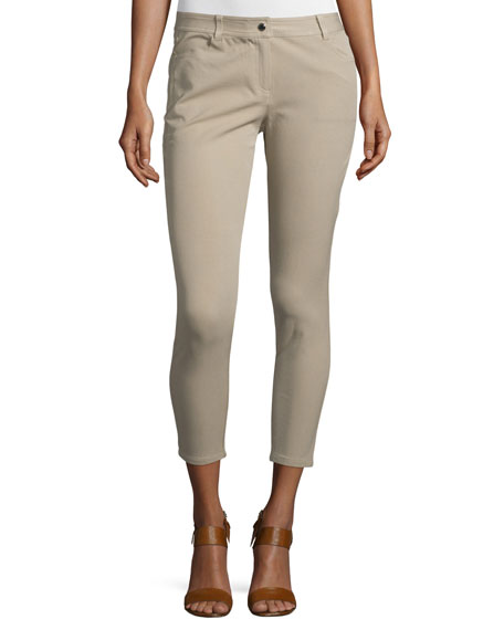 Michael Kors Collection Mid-Rise Skinny Cropped Jeans, Sand