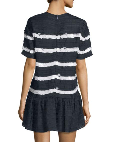 Short-Sleeve Mini-Ruffle Striped Dress, Blu