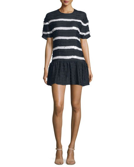 RED Valentino Short-Sleeve Mini-Ruffle Striped Dress, Blu