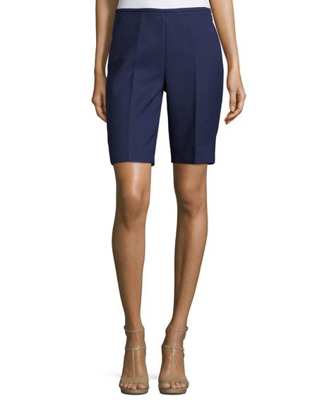 Side-Zip Slim-Leg Shorts, Indigo