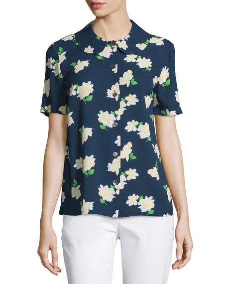 Michael Kors Collection Button-Front Floral-Print Shirt, Indigo/White