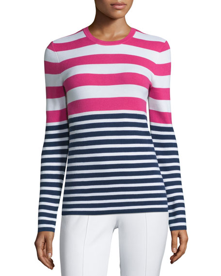 Michael Kors Collection Long-Sleeve Striped Cashmere Sweater, Indigo/Geranium