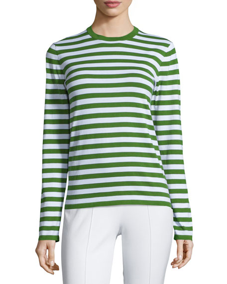 Michael Kors Collection Long-Sleeve Striped Top, Lawn