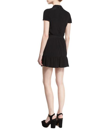 Embellished-Bodice Mini Dress, Nero