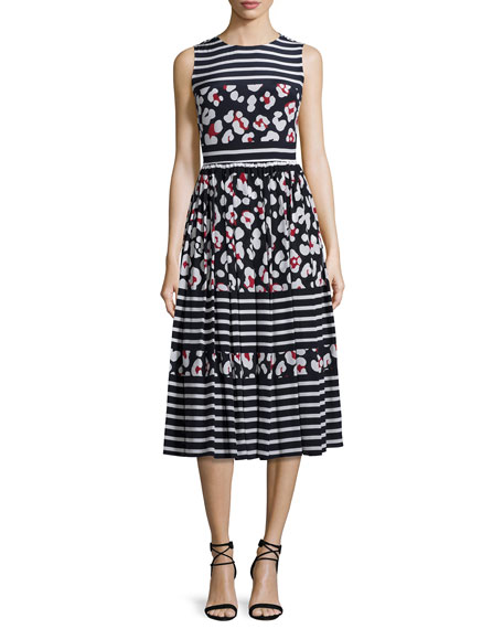 RED Valentino Sleeveless Mixed-Print Midi Dress, Blue