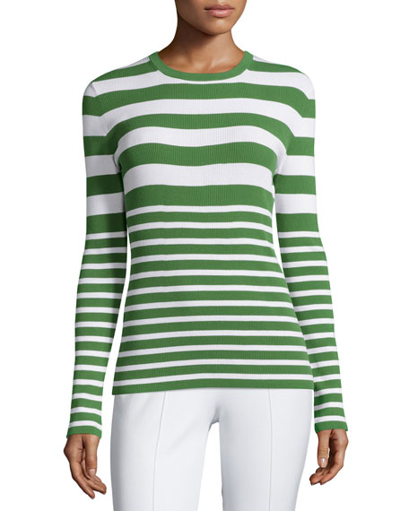 Michael Kors Collection Long-Sleeve Mixed-Stripe Top, Lawn