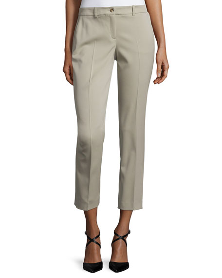 Michael Kors Collection Samantha Slim-Leg Cropped Pants, Sand