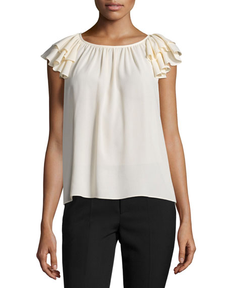 Michael Kors Collection Ruffled-Sleeve Top, Natural