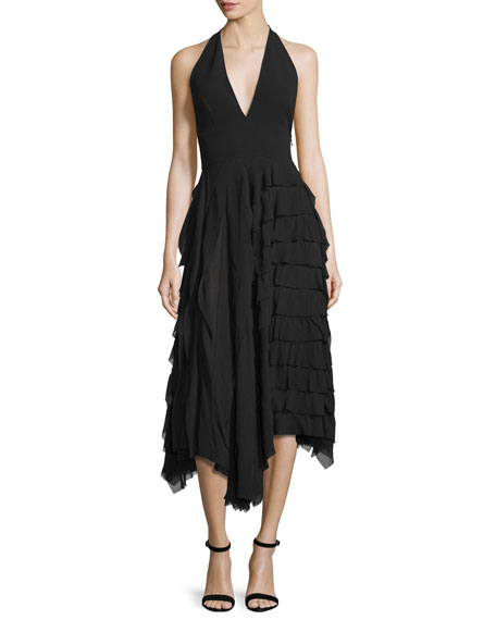 Michael Kors Collection Halter-Neck Tiered-Ruffle Midi Dress,