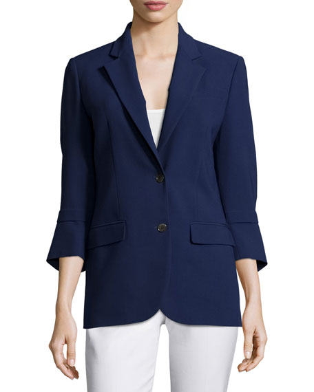 Michael Kors Collection Pushed-Sleeve Two-Button Blazer