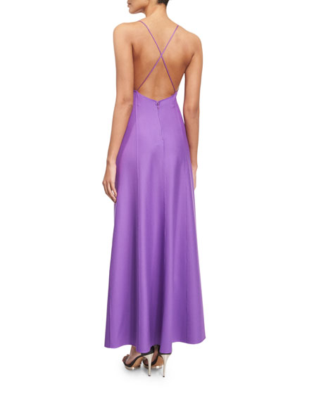 Sleeveless Cross-Back A-Line Dress, Lilac