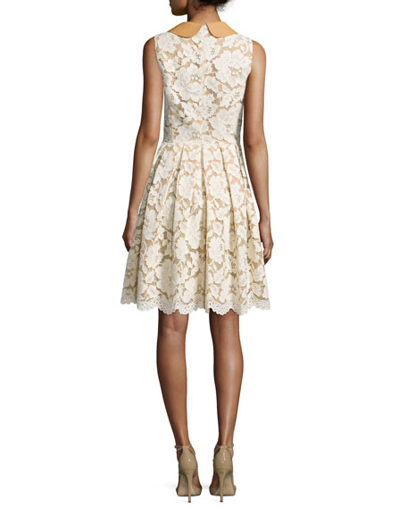 Sleeveless Fit-&-Flare Lace Dress, Natural
