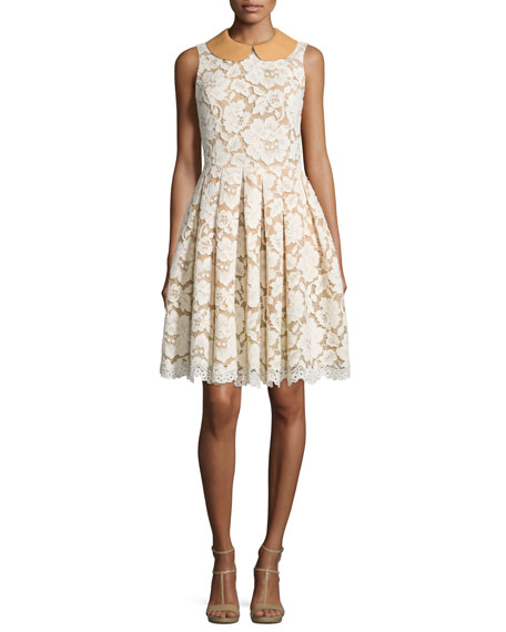 Michael Kors Collection Sleeveless Fit-&-Flare Lace Dress,