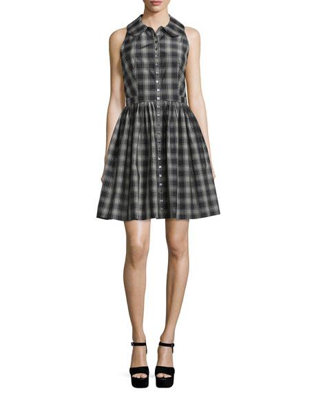 Sleeveless Button-Front Plaid Shirtdress, Black/Muslin