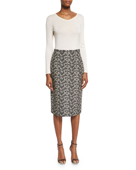 Michael Kors Collection High-Waist Pencil Skirt, Black/Muslin