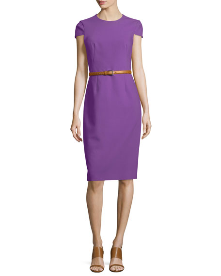 Michael Kors Collection Belted Origami Sheath Dress, Lilac
