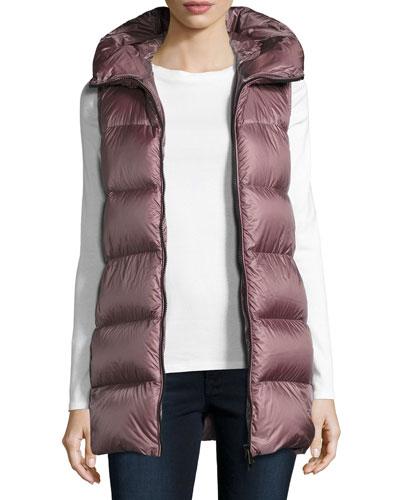 Glykeria Long Hooded Puffer Vest