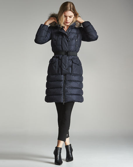 Khloe Quilted Puffer Coat w/Fur Hood
