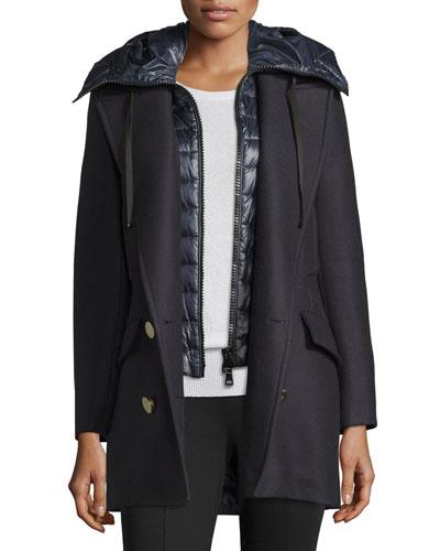 Galatea Wool Pea Coat w/Puffer Vest, Navy