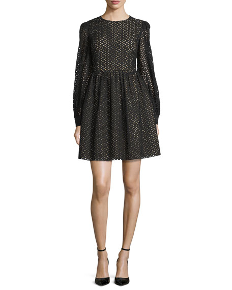 Michael Kors Collection Long-Sleeve Eyelet Mini Dress, Black