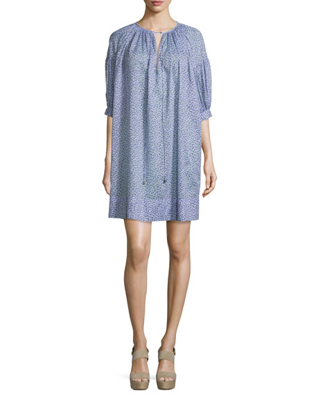 Michael Kors Collection Half-Sleeve Split-Neck Caftan, Wisteria