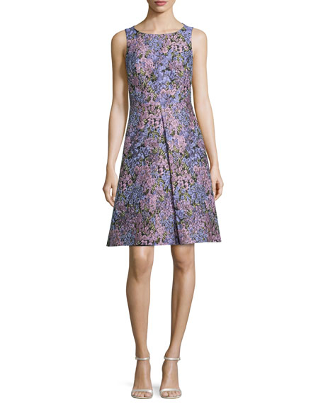 Michael Kors Collection Sleeveless Inverted-Pleat Floral-Print