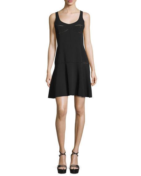 Michael Kors Sleeveless Fit-&-Flare Dress, Black